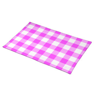 Pink and White Gingham Pattern Place Mat