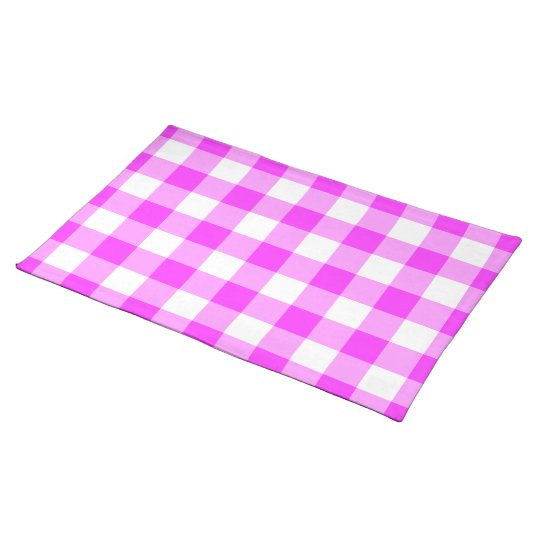 Pink and White Gingham Pattern Placemat