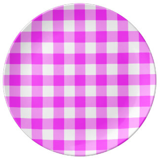 Pink and White Gingham Pattern Plate