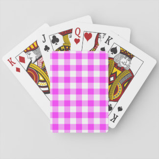 Pink and White Gingham Pattern Poker Cards