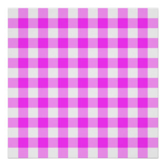 Pink and White Gingham Pattern Poster
