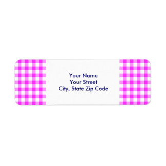 Pink and White Gingham Pattern return address Label
