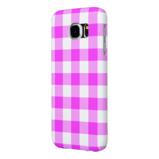 Pink and White Gingham Pattern Samsung Galaxy S6 Cases
