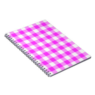 Pink and White Gingham Pattern Spiral Notebook