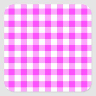 Pink and White Gingham Pattern Square Sticker
