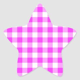 Pink and White Gingham Pattern Star Sticker