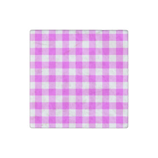 Pink and White Gingham Pattern Stone Magnet