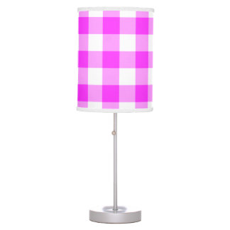 Pink and White Gingham Pattern Table Lamp