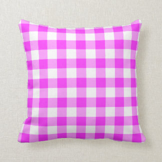 Pink and White Gingham Pattern Throw Pillow