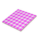 Pink and White Gingham Pattern Tiles