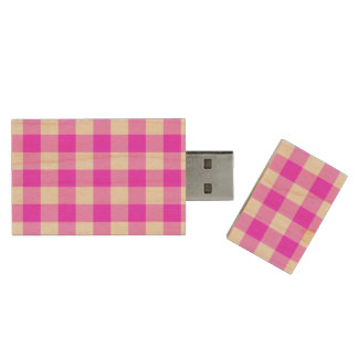 Pink and White Gingham Pattern Wood USB Flash Drive