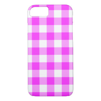 Pink and White Gingham Plaid iPhone 7 Case