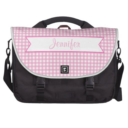 Pink and White Gingham with Custom Name Laptop Messenger Bag