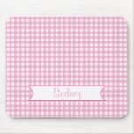 Pink and White Gingham with Custom Name Mouse Pad