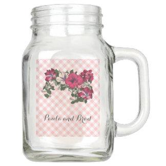 Pink and White Gingham with Ruffled Petunias Mason Jar