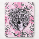 Pink and white girly butterfly skull mouse pad
