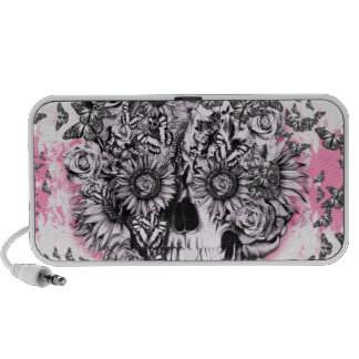Pink and white girly butterfly skull iPod speakers