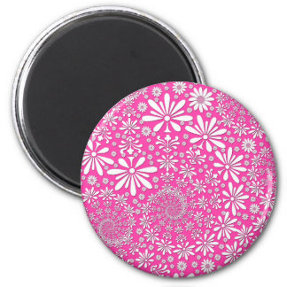 Pink and White Girly Floral Pattern 2 Inch Round Magnet