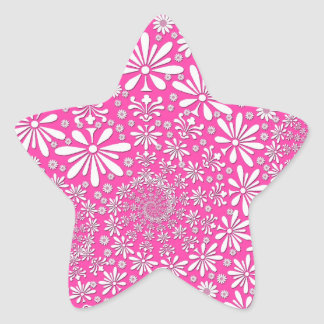 Pink and White Girly Floral Pattern Star Sticker