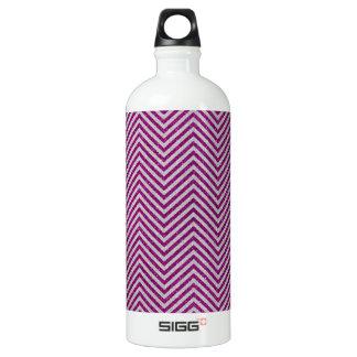 Pink and White Glitter Zig Zag Water Bottle