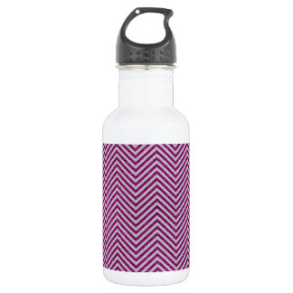 Pink and White Glitter Zig Zag Water Bottle