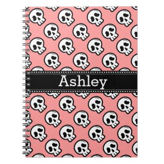 Pink and White Goth Skulls Custom Name D05 Notebook