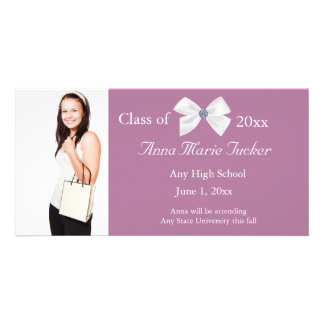 Pink and White Graduation Photo Card