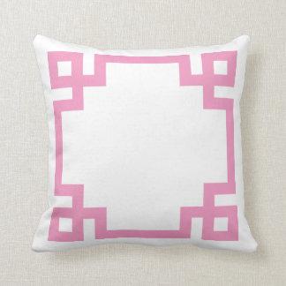 Pink and White Greek Key Border Pillows