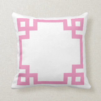 Pink and White Greek Key Border Throw Pillow