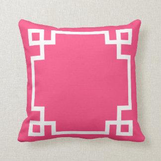 Pink and White Greek Key Pattern Throw Pillow