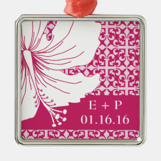 Pink and White Hawaiian Hibiscus Graphic Flower Metal Ornament