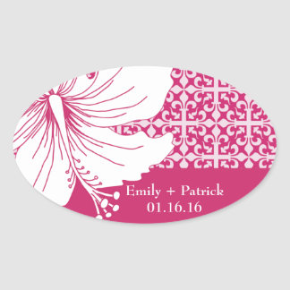 Pink and White Hawaiian Hibiscus Graphic Flower Oval Sticker