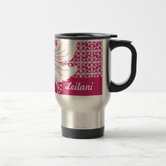 Pink and White Hawaiian Hibiscus Graphic Flower Travel Mug