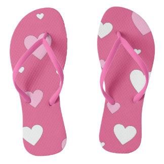 Pink and White Heart Love Flip Flops