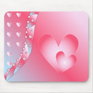 Pink and white heart mouse pad
