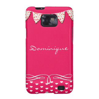 Pink and White Heart Scroll Galaxy SII Covers