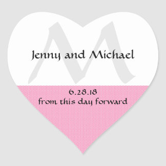 Pink and White Heart-Shaped Wedding Cake Box Seals