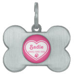 Pink And White Heart With A Paw Print Pet Name Tags