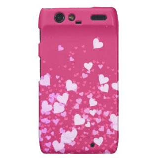 Pink and White Hearts Custom Droid RAZR Cases