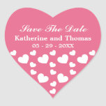 Pink and White Hearts Save The Date Stickers