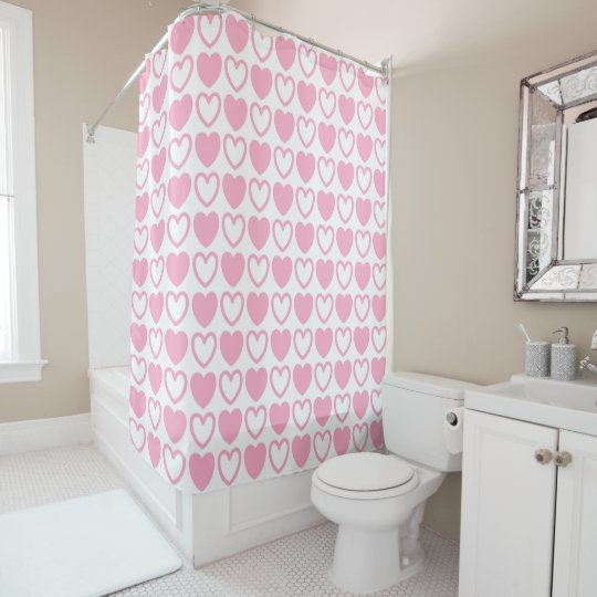 Pink And White Hearts Shower Curtain