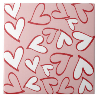 Pink and White Hearts Tile