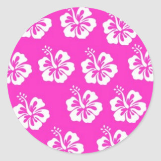 Pink and White Hibiscus Design Classic Round Sticker