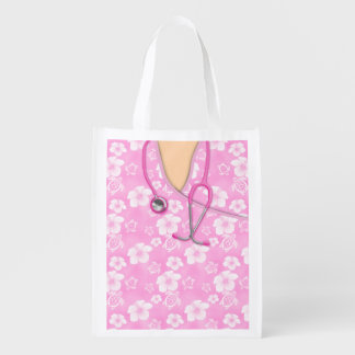 Pink And White Hibiscus Island Medical Scrubs Reusable Grocery Bag