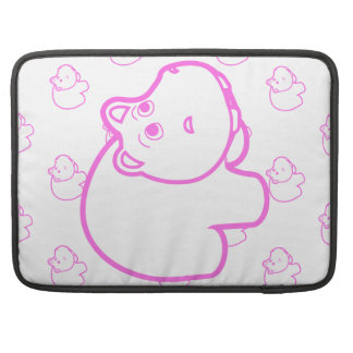 Pink and White Hippo Sleeves For MacBook Pro