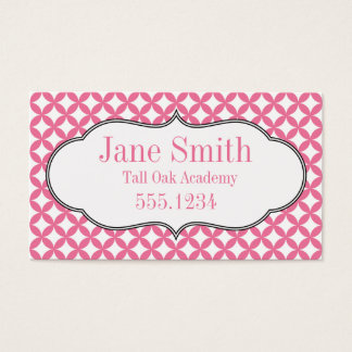 Pink and White Homeschool Calling Card