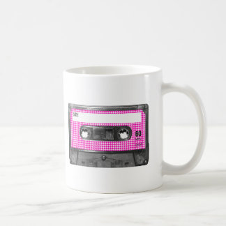 Pink and White Houndstooth Label Cassette Coffee Mug