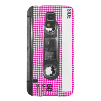 Pink and White Houndstooth Label Cassette Galaxy S5 Case