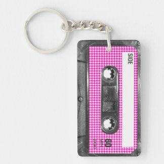 Pink and White Houndstooth Label Cassette Keychain