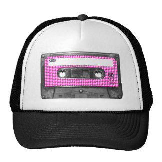 Pink and White Houndstooth Label Cassette Trucker Hat